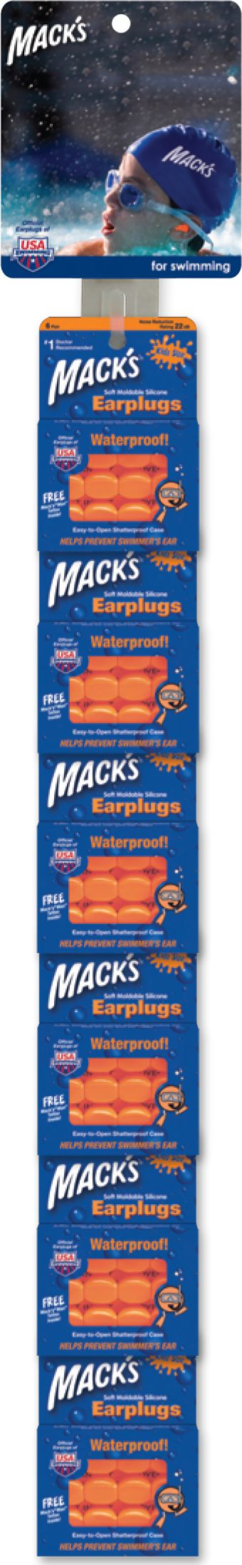 Mack's Clip Strip - Swim Style - Pre-Loaded with 6 Packs of Orange Kids Silicone Swimming Earplugs