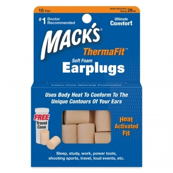 Mack's ThermaFIT Heat Activated Foam Earplugs - 10 pair Box with Free Travel Case