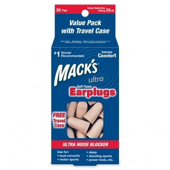 MACK'S ULTRA SOFT FOAM PLUGS 32DB - 30 Pair Box with Free Travel Case