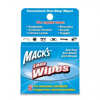 Mack's Lens Wipes Cleaning Towelettes - 6 Pack